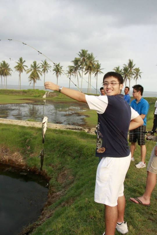 Here, we see Johandy being exceptionally pleased with himself upon catching a fish...