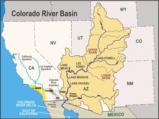 Reach of the mighty Colorado River in continental USA. None of the water would reach the ocean because of all the dams.
