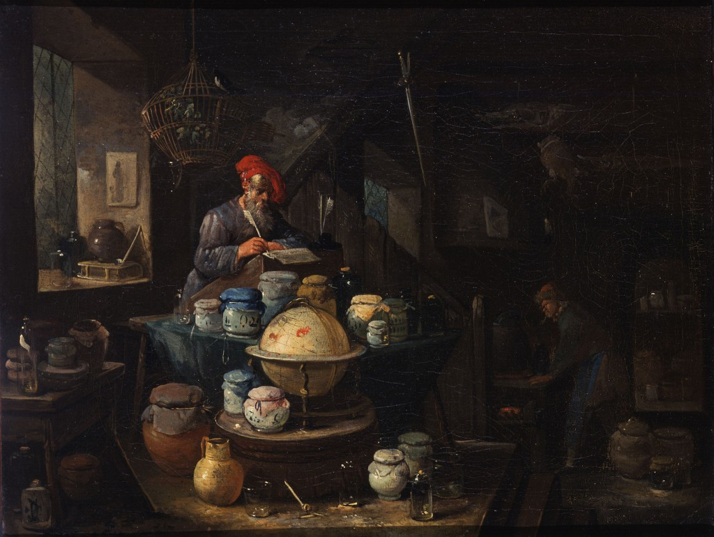 An Alchemist in His Study, Egbert van Heemskerck. The workshop is messy, dimly lighted, and he is socially despised; But his profession will eventually evolve into the modern field of Chemistry.