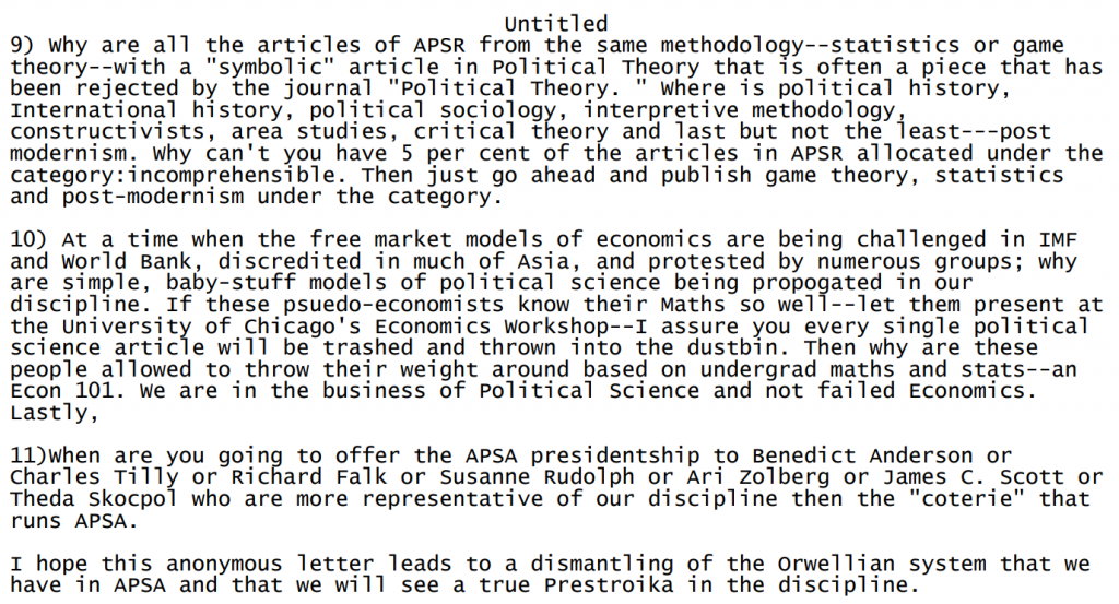 """Extract from email titled """"Perestroika in Political Science"""", which deplored the obsession with quantitative proofs in studying politics."""
